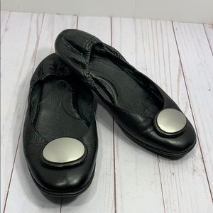 Born black leather ballet flats with silver disk